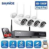 WLAN Überwachungskamera Set,SANNCE 1080P 8CH Wireless NVR + 4x1080P Kabellose Outdoor Außen...