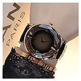 xjS Modeuhr Female-Quarz-Uhr-echtes Leder Schmetterling Drill Gold Zifferblatt Glitter Schul Junge Frauen Mode Freizeit-Quarz-Uhren für Frauen (Color : Black)