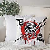 Dekokissen Kissenhülle,Japaner, Totenkopf von Kamikaze mit Bandanna Samurai Schwertern japanische...