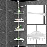 Deuba Duschregal mit 4 Ablagen Teleskopregal für Bad bis max. 304 cm höhenverstellbar Badregal silber Duschecke