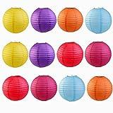12 Stück Papierlaterne Laterne Deko 8 Zoll Bunte Runden Papierlaternen Lampenschirm für Dekoration