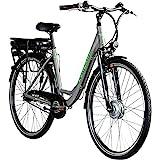 Zündapp E-Bike 700c Damenrad Pedelec 28 Zoll Z502 E Citybike Hollandrad Fahrrad (grau/grün ohne...