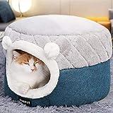 Unbne Plüsch-Katzen Betten, 2 in 1 Pet Bed and Cave Warmer Winter Kennel Schöne Bett Sofakissen,S