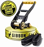 Gibbon Slacklines Classic Line, Gelb, 15 Meter (12,5m Band + 2,5m Ratschenband), inkl....