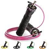 ZenRope - Speed Rope Springseil Sport mit Profi-Kugellager I Gratis E-Book, Extra-Stahlseil, Tasche...