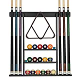 Billard Xpress Pool-Queue-Rack – Pool-Halterung mit 16 Kugelhaltern & 6 Kreide – Gummi-Polster &...
