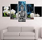 GTomorrow Leinwandbilder Bild Buddha-Orchidee, Abstrakter Blauer Rauch 200X100Cm 5-Teiligen Leinwand...