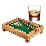 AMAVEL – Set – Mini Billardtisch aus Edelholz – Geschicklichkeitsspiel – Whisykglas mit...