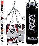 RDX Boxsack Set Gefüllt Kickboxen MMA Muay Thai Boxen mit Stahlkette Training Handschuhe Kampfsport...