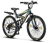 Licorne Bike Strong D (Schwarz/Blau/Lime) 26 Zoll Mountainbike Fully, MTB, geignet ab 150 cm,...