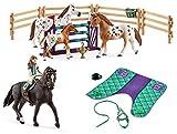 3in1-SET Schleich Pferde Horse Club - Lisa & Storm mit extra Pferdedecke und Turniertraining 42413 +...