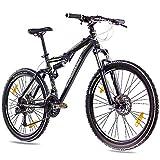 CHRISSON 26 Zoll Mountainbike Fully - Contero schwarz - Vollfederung Mountain Bike mit 24 Gang...