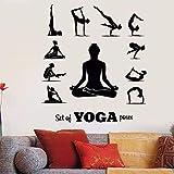 Yoga Zentrum Yoga Pose Wandtattoo Mädchen Meditation entspannen Pose Yoga Pose Wand sticker42x47cm