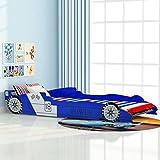 Festnight Kinderbett Autobett Rennwagen ohne Matratze 90x200 cm Blau