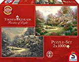 Schmidt Spiele 59469 - Thomas Kinkade, Sonnenuntergang oder Winter in Riverbend, 2 x 1.000 Teile,...