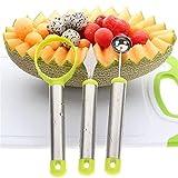 CULASIGN Fruit Carving Tool Set von 3 Obstschäler Melone Baller Scoop mit Obstschnitzmesser,...