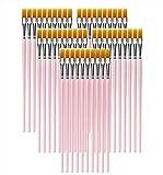 Shapenty Flachpinsel Set Aquarell Acryl Öl Körper Nagel Gesicht Keramik Detail Malerei Pinsel Bulk für Schule Klassenzimmer DIY Handwerk Projekte Kinder Schüler Anfänger Kunst Geschenk 50 Stück rose