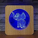 Elefant LED Fotorahmen Nachtlicht DIY Maßgeschneiderte Lampe Tischlampe Kinder Geburtstag 7 Farben...