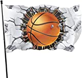 YUHJ Hofflagge 3x5 FT Polyester Flag Basketball Durable and Fade Resistant Home Garden Indoor...