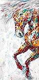 Modernes Tier Ölgemälde Poster und Druck Wandkunst auf Leinwand abstrakt buntes Pferd rahmenlose...
