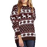 feiXIANG Damen Strickpullover Langarm Pullover Casual Sweater V-Ausschnitt Gestrickte rückenfreies...