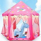 Fivejoy Mädchen Spielzelt für Kinder, Princess Castle Zelt Unicorn Kinderspielzelt mit 2 Modes Sternenlicht, Prinzessin Zelt Innen & Draussen - Weihnachten Geschenk für Mädchen Kinder( Rosa )