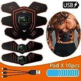 ADLIN Abs Trainer EMS Muskelstimulator, USB aufladbare abs Muskel Toner elektronische Six Pack...