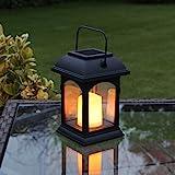 schwarze Solar Laterne mit LED Kerze und täuschend echt wirkenden Flacker-Effekt, von Festive...