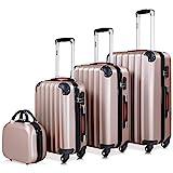 Monzana® Baseline 4er Set Koffer Rose-Gold |Beautycase M, L, XL|Gelgriffe Zahlenschloss|...