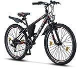 Licorne Bike Guide (Schwarz/Rot/Grau), 26 Zoll Mountainbike, MTB, geignet ab 150 cm, Shimano 21...