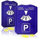 2X Parkscheibe mit Eiskratzer-Gummilippe und Einkaufswagen-Chip-Kunststoff-Parkuhr