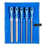 PFERD Werkstattfeilen-Set in PVC-Rolltasche, 5 Feilen, Kreuzhieb H2, 250mm, 11800542  – für...