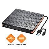 Externes DVD CD Laufwerk, Externes CD  Brenner für Brenner mit USB 3.0 und Typ C Schnittstelle,...