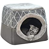 NIBESSER Katzenhöhle Katzen Haus Katzenbett Haustier Pet Nest Schlafsack 2 in 1 Faltbar...