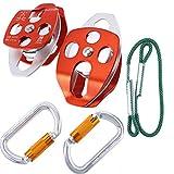 YaeKoo Seilrolle Mobile Pulley Doppelte Scheibe 32kN und Oval Verriegelung Karabiner 25kN und...