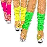 EVENT LIGHTS Neon Stulpen / Legwarmer Set - 3 Stück - grün, pink, gelb - Leuchten im Schwarzlicht...