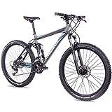CHRISSON 27,5 Zoll Mountainbike Fully - Hitter FSF grau blau - Vollfederung Mountain Bike mit 30...