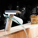 OUKANING Wasserfall Glas Einhebelmischer Wasserhahn Waschtisch Bad Armatur Waschbecken
