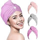 RIGHTWELL Haarturban Handtuch 3 Pack Turban Handtuch mit Knopf, Kopftuch Handtuch, Schnelltrocknend Mikrofaser Handtuch für Kopf und Lange Haare