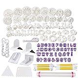 Soleebee 114-Teiliges Fondant Ausstecher Set Ausstechformen für Buchstaben, Zahlen, Rose Blume Formen Set Fondant Werkzeuge Auswerfer Stempel Modellierwerkzeug für Torten Deko