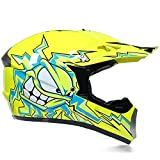 Super-ZS Motocross Helm, Schutzbrille + Handschuhe + Maske Profi Rallye Motorrad Helm Abnehmbarer Und Waschbarer Gelber Cartoon Muster Erwachsenenhelm Set