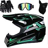 HUSHUI Motocross Helm, Profi Motocross Helm Motocross Dirt Bike Offroad Motorradhelm Set Full Face MTB Helm mit Schutzbrille Handschuhe Gesichtsbedeckung, Motorradhelm