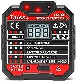 Taiss/Stromprüfer,Steckdosenprüfgerät mit Spannungsanzeige LCD Display 48-250V Automatischer Stromkreis Polaritätsspannungsdetektor Wandstecker Unterbrecher TA106D