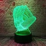 3D Illusion Lampe Kindergeschenk Nachtlicht Baseballhandschuh Led Tischlampe, 7 Farben Ändern Touch...