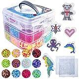 La Manuli 10000 Bügelperlen von Hama Beads kompatibel | Glitzer | volle Farbe | im Dunkeln Leuchten...