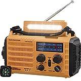 Solar Radio, Tragbare Notfall Radio mit Kurbel, Dynamo Wetter AM/FM/SW Radio,2000mAh Wiederaufladbare Powerbank,USB-Handy-Lader,LED Taschenlampe & Leseleuchte,SOS Alarm,Kompass für Camping Ourdoor