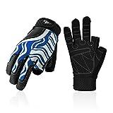 Vgo... Junior SL0058-JM Halbfinger-Handschuhe, atmungsaktiv, für Segeln, Bootfahren, Rudern und Kajakfahren, Blau, Jungen, blau, Junior XL: (Age 14-15)