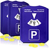 3X Parkscheibe mit Eiskratzer-Gummilippe und Einkaufswagen-Chip-Kunststoff-Parkuhr