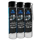AAB Druckluftspray 3 x 750ml, Druckgasreiniger, Druckluft aus der Dose für die Reinigung von Tastatur Bildschirmen, Konsolen, Kopierer, Gehäuse, Luftdruck-spray, Druckluftreiniger, Air Duster