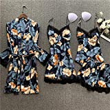 YUHOOE Damen Nachtwäsche Set,Sommer 4 Pcs Set Frauen Seide Sexy Camisole Nachthemd Robe Anzug...